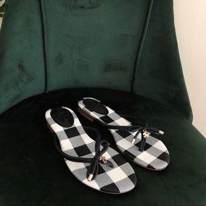 *Kate Spade Plaid Gingham Flip Flop Sandals 8